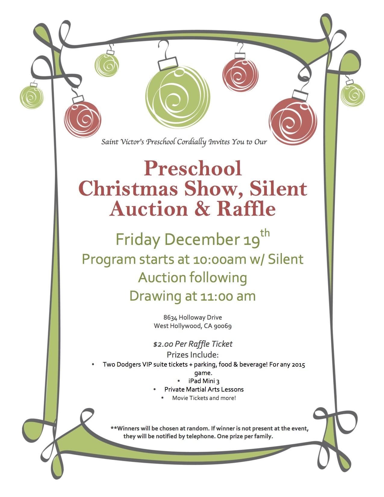 Saint Victor s Preschool Christmas Show Silent Auction and